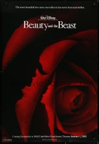6r087 BEAUTY & THE BEAST IMAX advance DS 1sh R2002 Walt Disney cartoon classic, art of cast in rose!