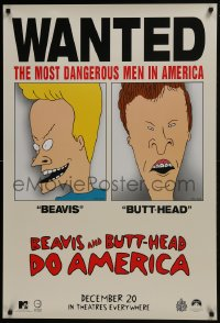 6r089 BEAVIS & BUTT-HEAD DO AMERICA teaser 1sh 1996 Mike Judge, most dangerous men in America!