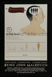 6r092 BEING JOHN MALKOVICH DS 1sh 1999 Spike Jonze directed, John Cusack, Diaz, the ripe vessel!