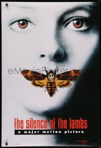 6r804 SILENCE OF THE LAMBS style A teaser DS 1sh 1991 image of Jodie Foster with moth over mouth!