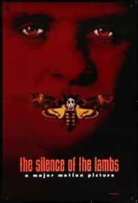 6r805 SILENCE OF THE LAMBS style B teaser DS 1sh 1991 image of Anthony Hopkins with moth over mouth!
