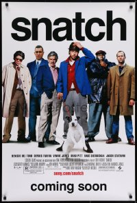 6r819 SNATCH advance DS 1sh 2000 cool image of Brad Pitt, Jason Statham, Benicio Del Toro & cast!