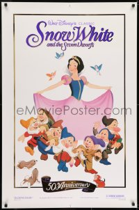 6r821 SNOW WHITE & THE SEVEN DWARFS foil 1sh R1987 Walt Disney cartoon fantasy classic!