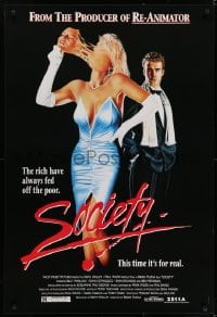 6r823 SOCIETY 1sh 1992 Billy Warlock, Bilkas horror art of woman pulling off her face!