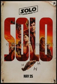 6r826 SOLO teaser DS 1sh 2018 A Star Wars Story, Ehrenreich, Clarke, Harrelson, art of top cast!