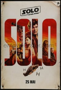 6r825 SOLO int'l French language teaser DS 1sh 2018 A Star Wars Story, Ehrenreich, art of top cast!