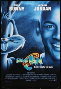 6r832 SPACE JAM int'l 1sh 1996 cool dark image of Michael Jordan & Bugs Bunny in outer space!