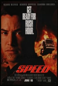 6r836 SPEED style A advance DS 1sh 1994 huge close up of Keanu Reeves & bus driving through flames!