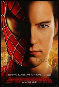 6r838 SPIDER-MAN 2 advance 1sh 2004 great close-up image of Tobey Maguire in the title role!