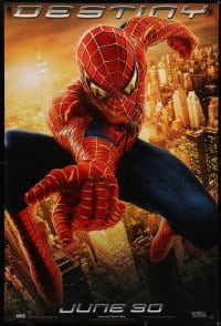 6r842 SPIDER-MAN 2 teaser 1sh 2004 great image of Tobey Maguire in the title role, Destiny!