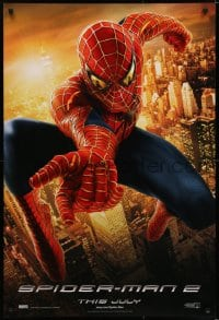 6r841 SPIDER-MAN 2 int'l teaser DS 1sh 2004 great image of Tobey Maguire in the title role, Destiny!