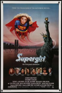 6r885 SUPERGIRL 1sh 1984 super Helen Slater in costume flying over Statue of Liberty!