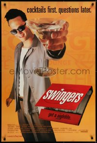 6r890 SWINGERS 1sh 1996 partying Vince Vaughn with giant martini, directed by Doug Liman!