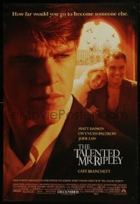 6r892 TALENTED MR. RIPLEY advance DS 1sh 1999 Matt Damon, Jude Law, Gwyneth Paltrow, Cate Blanchett!