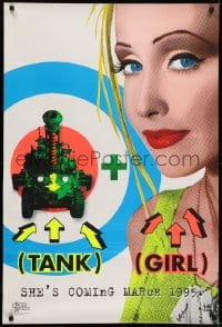 6r896 TANK GIRL teaser DS 1sh 1995 wacky Lori Petty with cool futuristic tank, black light design!