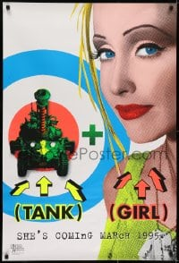 6r895 TANK GIRL teaser 1sh 1995 Lori Petty, based on the comic strip, cool blacklight design!