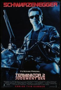 6r901 TERMINATOR 2 advance DS 1sh 1991 Arnold Schwarzenegger on motorcycle with shotgun!
