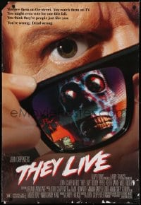6r905 THEY LIVE DS 1sh 1988 Rowdy Roddy Piper, John Carpenter, he's all out of bubblegum!
