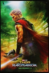 6r907 THOR RAGNAROK teaser DS 1sh 2017 great image of Chris Hemsworth in the title role w/helmet!