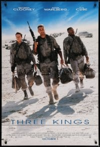 6r909 THREE KINGS advance DS 1sh 1999 George Clooney, Mark Wahlberg, & Ice Cube in the Gulf War!