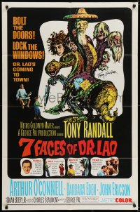 6s020 7 FACES OF DR. LAO signed 1sh 1964 by Tony Randall, great art of him by Joseph Smith!