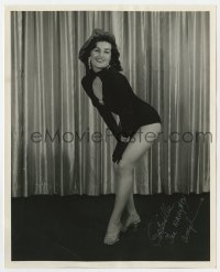 6s287 GABRIELLE THE NAUGHTY ANGEL signed 8x10 still 1960s sexy burlesque dancer on stage in black!