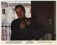 6s291 GEORGE C. SCOTT signed color 8x10 still 1971 close up with gun & cigarette from The Last Run!