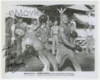 6s294 GEORGE KENNEDY signed 8x10 still 1967 c/u boxing with Paul Newman in Cool Hand Luke!