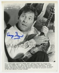 6s297 GEORGE SEGAL signed 8x10.25 still 1981 great close up playing guitar from Carbon Copy!