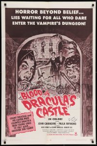 6s021 BLOOD OF DRACULA'S CASTLE signed 1sh 1969 by Robert Dix, Al Adamson directed vampire horror!