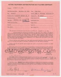 6s012 ALAN HALE JR. signed contract 1961 appearing on Lassie's Odyssey No. 3 for $400!