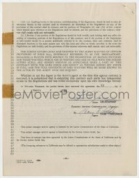 6s015 LANA TURNER signed contract 1953 agreeing to be represented by Famous Artists Corporation!