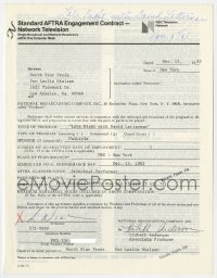 6s016 LESLIE NIELSEN signed contract 1982 appearing on Late Night with David Letterman for $431.75!