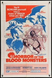 6s022 HORROR OF THE BLOOD MONSTERS signed 1sh 1970 by Robert Dix, Al Adamson horror, Neal Adams art!