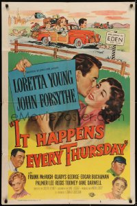 6s024 IT HAPPENS EVERY THURSDAY signed 1sh 1953 by Loretta Young, wacky art of her & family in car!