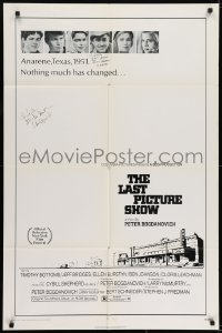 6s025 LAST PICTURE SHOW signed 1sh 1971 by BOTH director Peter Bogdanovich AND Ben Johnson!