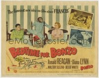 6s040 BEDTIME FOR BONZO signed TC 1951 by Ronald Reagan, great image with Diana Lynn & chimpanzee!
