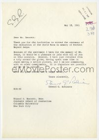 6s005 EDWARD G. ROBINSON signed letter 1961 sending his regrets after a long trip to Japan!