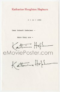 6s008 KATHARINE HEPBURN signed letter 1992 she provided two signatures per a fan's request!
