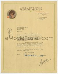 6s010 MACK SENNETT signed letter 1916 on Mabel Normand stationary, from the legendary producer!