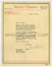 6s003 ORSON WELLES signed letter 1940 Grand Detour Illinois is the most delightful town in America!