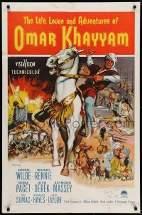 6s026 LIFE, LOVES & ADVENTURES OF OMAR KHAYYAM signed 1sh 1957 by John Abbott, art of Cornel Wilde!