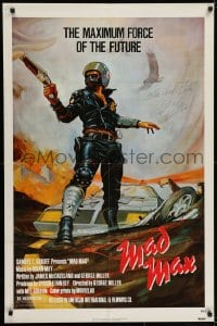 6s027 MAD MAX signed 1sh 1980 by Mel Gibson, George Miller post-apocalyptic classic, Garland art!