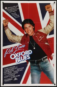 6s028 OXFORD BLUES signed 1sh 1984 by Rob Lowe, great image of him over the United Kingdom flag!
