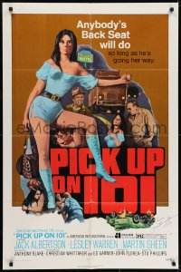 6s029 PICK UP ON 101 signed 1sh 1972 by Martin Sheen, Lesley Ann Warren knows where she wants to go!
