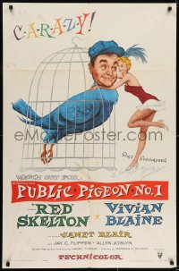 6s030 PUBLIC PIGEON NO 1 signed 1sh 1956 by Vivian Blaine, art with Red Skelton as bird in cage!