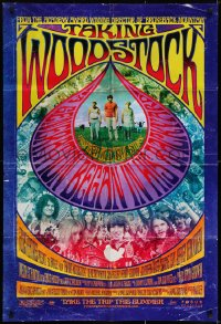 6s032 TAKING WOODSTOCK signed advance DS 1sh 2009 by director Ang Lee, psychedelic design & art!