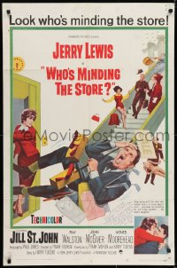 6s035 WHO'S MINDING THE STORE signed 1sh 1963 by John Abbott, art of unhandy man Jerry Lewis!