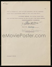 6s013 ANTHONY PERKINS signed contract 1956 hired by Paramount to make Fear Strikes Out & another!