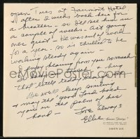 6s006 ELEANOR POWELL signed thank you card 1976 she adored Judy Garland in Broadway Melody of 1938!